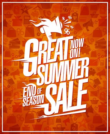 Great summer sale banner, end of season discounts poster concept Ilustrace