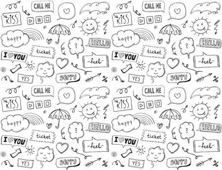 Nahtloses Muster mit omischen Stilelementen und Sprechblasen, handgezeichnete Vektorillustration im Doodle-Stil, Liebesthema