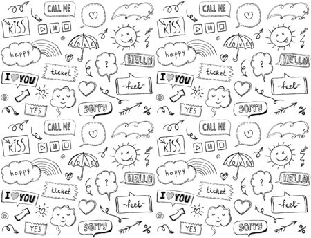 Seamless pattern with omic style elements and speech bubbles, doodle style hand drawn vector illustration, love theme Reklamní fotografie - 128503645