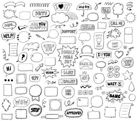 Graphic sketch elements set - doodle graphic line signs and symbols, speech bubbles, frames, phrases, etc. Hand drawn vector illustration Ilustração
