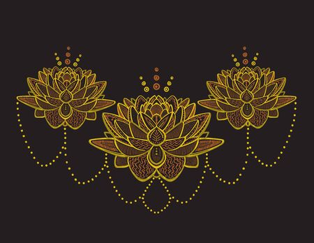 Golden lotus flowers ornamental sketch illustration