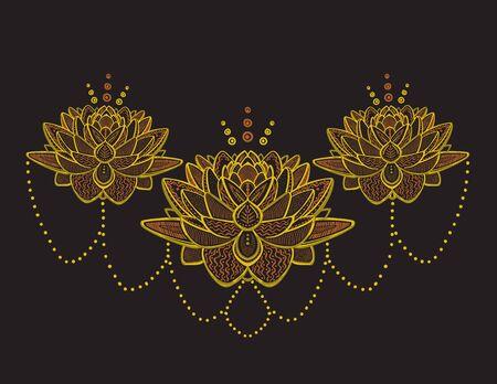 Ilustración de dibujo ornamental de flores de loto dorado