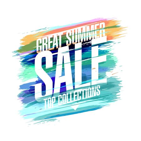 Great summer sale vector poster, top collections. Discounts banner with colored blots.