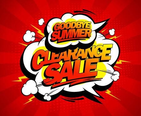 Good bye summer sale vector banner, comic style advertising poster