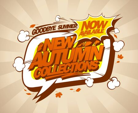 New autumn collection, summer sale vector banner concept, comic style Ilustrace
