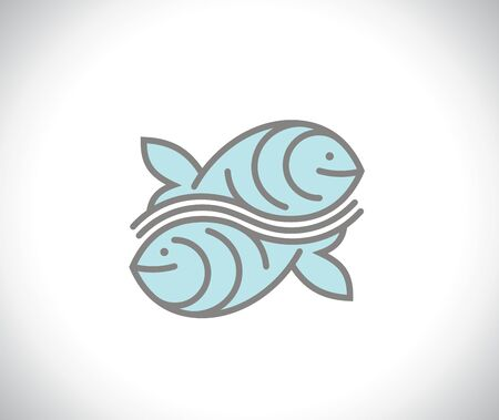 Two fishes icon concept like yin yang