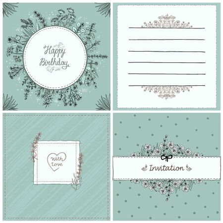 Congratulation and invitation cards set, herbal frames, vector hand drawn old style cards and frames collection, copy space for text