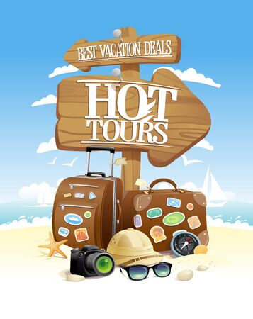 Adventure tours, best vacation, vector touristic design concept with travel bags, sunglasses, hat and photo camera, against beach seacoast backdrop