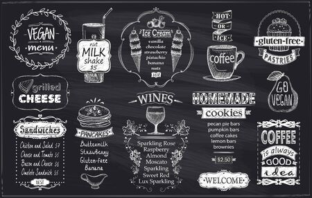 Chalkboard menu concept with vegan menu, gluten free meal, sandwiches, pancakes, wines, homemade cookies, ice cream and coffee