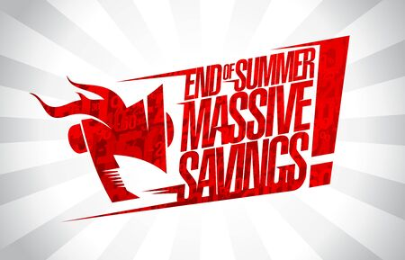 End of summer massive savings, sale banner vector concept Vettoriali