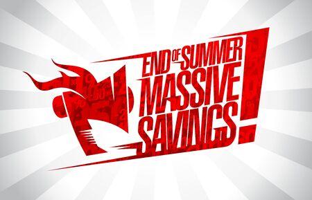 Risparmi enormi di fine estate, concetto di vettore di banner di vendita