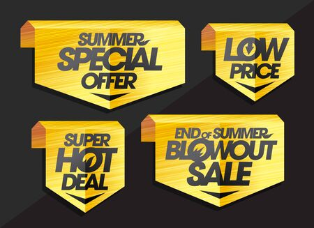 Vector sign and ribbons set - summer special offer, low price, super hot deal, end of summer blowout sale Archivio Fotografico - 126280996