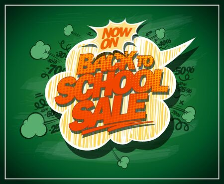 Back to school sale banner with green chalkboard and speech bubble Ilustrace