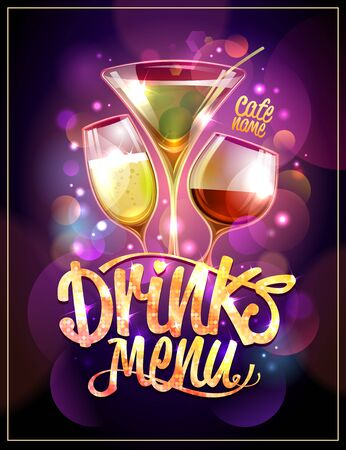 Drinks menu design concept with cocktails and night disco sparkles