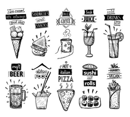 Ice cream, fresh juice, sandwiches, cold drinks, craft beer, china food, italian pizza, sushi and rolls, hungry vegan, vector menu templates set Ilustrace