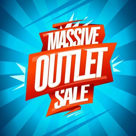 Massive outlet sale banner, vector discounts poster