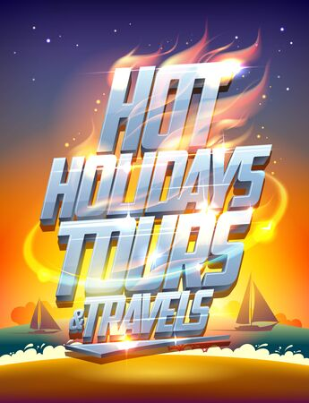 Hot holidays tours and travels vector poster, seascape and yachts on a background Reklamní fotografie - 128503663