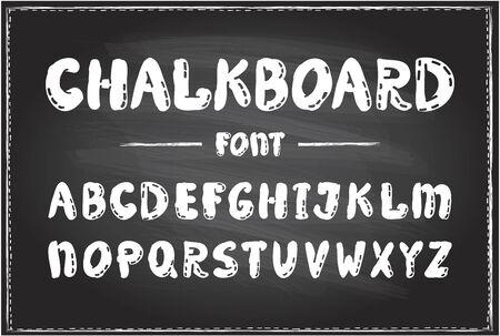 Handwriting chalkboard vector font, cartoon typography design on a chalkboard, hand drawn alphabet