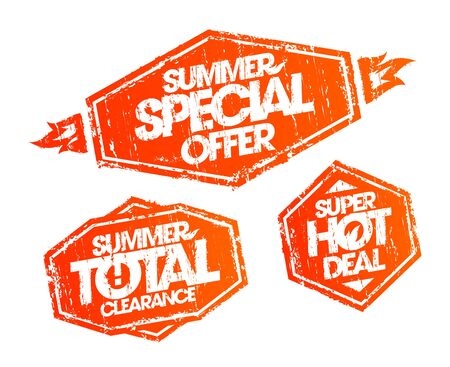Vector rubber stamps set - summer special offer, summer total clearance, summer hot deal