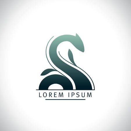 Loch ness, snake or dragon vector logo design