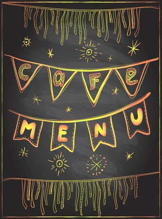 Chalk cafe menu holiday celebration board with golden flags garland and stars