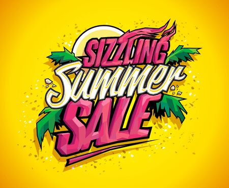 Sizzling summer sale vector banner, hot tropical design concept, sun, palms leaves and sky