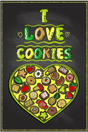 I love cookies chalkboard poster, hand drawn vector illustration with heart shaped cookie box and many different cookies Ilustrace