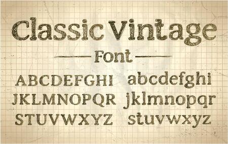 Fuente vintage áspera clásica, letras de tipografía, alfabeto dibujado a mano de estilo antiguo