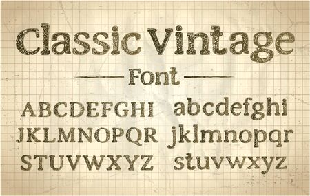 Classic rough vintage font, typography lettering, old style hand drawn alphabet Illustration