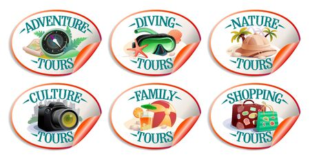 Travel stickers vector collection - nature turs, culture, family, diving, shopping tours and adventure tours Ilustrace