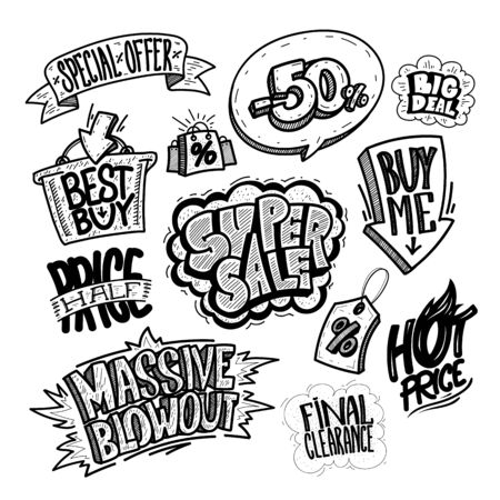Hand drawn sale signs and elements set - super sale, buy me, massive blowout, best buy, hot price, final clearance, special offer, half price, big deal, etc. Comic style icons vector illustration