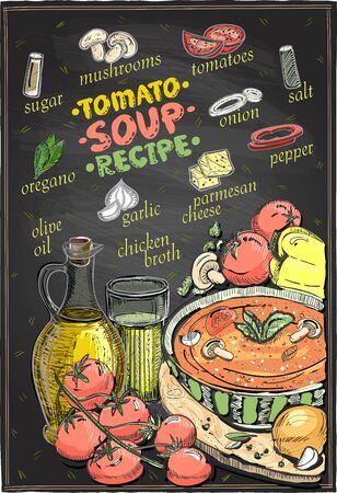 Disegno della lavagna della ricetta della zuppa di pomodoro, menu della zuppa con ingredienti, set di verdure schizzo