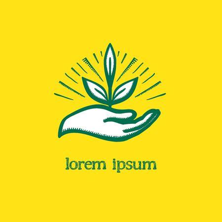 Pflanzen Sie in der Hand Vektor-Logo-Konzept mit Hand, die Sprössling hält, Lichtstrahlen auf einem Hintergrund