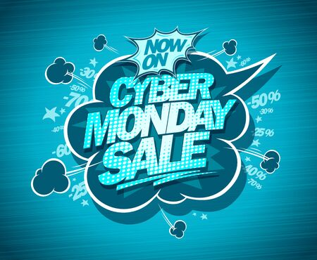 Syber monday sale banner with speech bubble, comic style Ilustrace