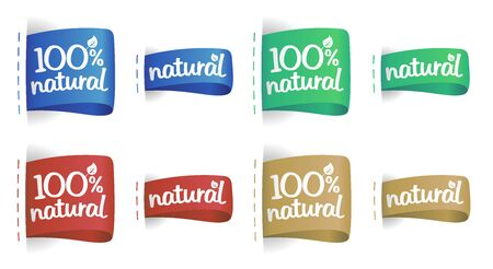 100% natural labels multicolored set for natural products Illusztráció