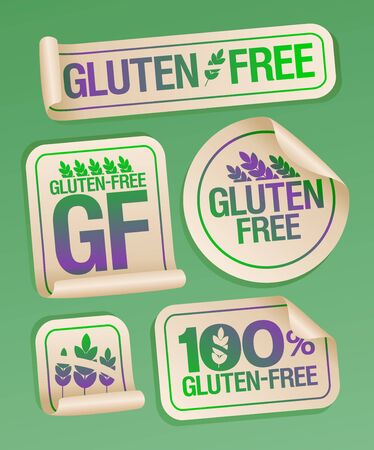 Gluten free food stickers set, healthy eating packing symbols Ilustrace