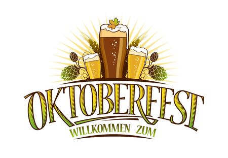 Oktoberfest logo sign isolated on white, glasses of beer and hop symbols