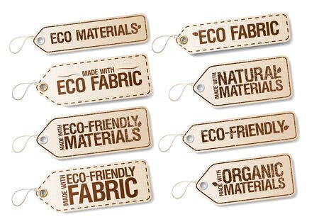 Eco, organic and natural materials labels collection, set of stickers for cloth made with eco friendly fabric Ilustrace