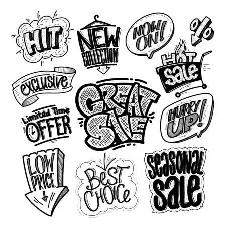 Hand drawn sale signs and prints set - great sale, hit, limited time offer, low price, best choice, seasonal sale, exclusive, new collection, hot sale, hurry up, etc. Comic style symbols vector illustration
