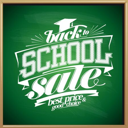 Back to school sale poster design concept on a greenboard