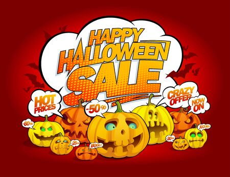 Happy halloween sale banner with talking pumpkins crowd with speech bubbles