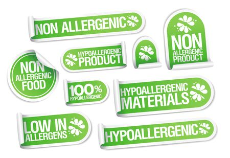 Non allergenic products and hypoallergenic materials stickers set, safe products packing symbols Illustration