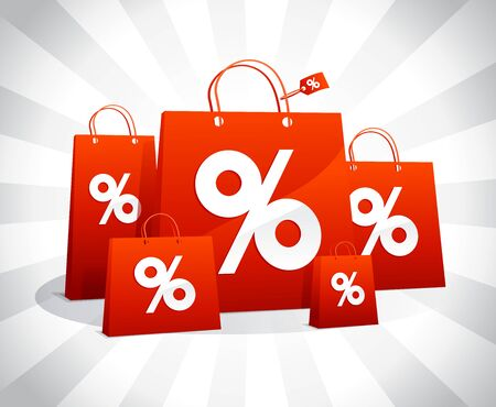 Discounts sale poster with red paper shopping bags and percent symbols Ilustrace