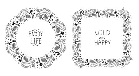 Tropical style frames decorated palm and sea elements. Summer quote cards set - enjoy life, wild and happy.