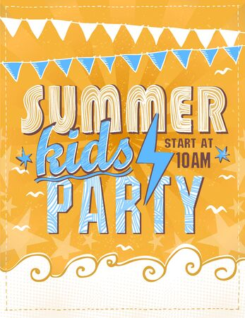 Summer kids party poster design concept, invitation card