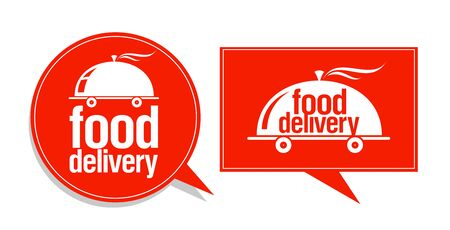 Food delivery symbols, signs or logos set Stock Vector - 128424436