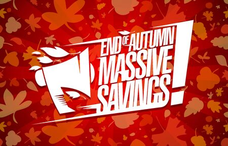 End of autumn massive savings vector poster, sale vector banner