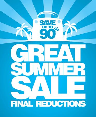 Final summer sale poster design concept with shopping bag and tropical island on a backdrop Reklamní fotografie - 128503688