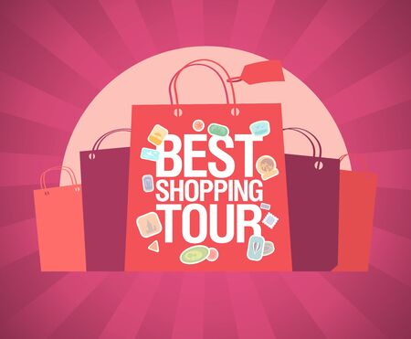 Best shopping tour vector banner design concept with paper bags and rays on a backdrop, sale poster, shopping tourism