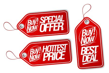 Buy now, special offer, best deal and hottest price tags set Stock Vector - 128424466